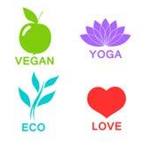 Wektor ekologii zielony abecadło - ikony i symbole Zdjęcia Stock