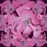 wektor Fantazja kwiaty - dekoracyjny skład Kwiaty z długimi płatkami wally wzór bezszwowego royalty ilustracja