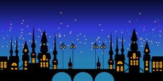 Wektor granica Europa nocy miasta linia horyzontu Fotografia Stock