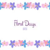 Wektor granica z niezapominajkowymi kwiatami Zdjęcia Royalty Free
