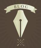 Wektor grawerował fontanny pióra ikonę, blogu pojęcie Obraz Royalty Free