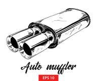 Wektor grawerująca stylowa ilustracja dla plakatów, dekoracji ręka rysujący auto muffler w czerni odizolowywającym na białym tle  ilustracja wektor
