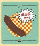wektor Grill kiełbasa: BBQ ja Lata bbq BBQ sezon BBQ plakat Lato wjazd Pinkin plenerowy Rodzinny BBQ dzień BBQ powiązany lepidło royalty ilustracja