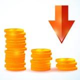 Wektor grupa monety zestrzela Obrazy Stock