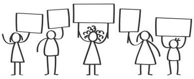 Wektor grupa protestujące kij postacie, mężczyzna i kobiety, stoi up puste miejsce deski i trzyma ilustracji