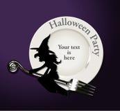 Wektor Halloween przyjęcie Czarownica na bielu talerzu Zdjęcia Stock