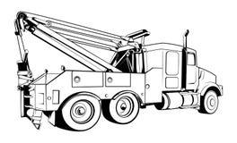 Wektor - Holowniczej ciężarówki Zarysowany Czarny wektor obrazy stock