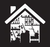 Wektor ikony pracownika budowlanego domowa sylwetka przy royalty ilustracja
