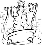 Wektor, ilustracja, czarny i biały, świnia bierze prysznic, piana, łazienka, woda, kontrpara, przyjemność, spokój ilustracji