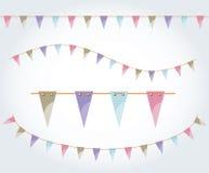 Wektor ilustrujący chorągwiany girlanda set Trójbok flaga na arkanie Pastel partyjna dekoracja Urodzinowa projekt dekoracja Fotografia Stock