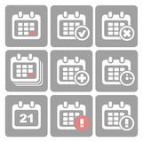 Wektor Kalendarzowe ikony: wydarzenie dodaje deleatur postęp Fotografia Stock