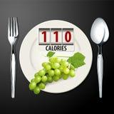 Wektor kalorie w Zielonych winogronach ilustracja wektor