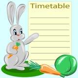 Wektor karta dla rozkład zajęć z królikiem i warzywami royalty ilustracja