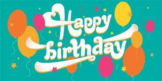 Wektor karta, urodzinowi powitania i pluśnięcia emocje, ilustracji