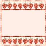 Wektor karta z jagodami Pusta kwadrat forma z ornamentacyjnymi truskawkami i granicą z kropkami royalty ilustracja