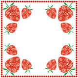 Wektor karta z jagodami Pusta kwadrat forma z ornamentacyjnymi truskawkami i granicą z kropkami Dekoracyjna rama Serie karty, Obrazy Stock