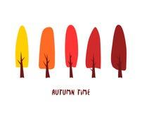 Wektor karta z kolorów drzewami i wpisowym jesień czasem Zdjęcie Stock