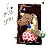 Wektor karta z małpą Żałośnie goryl z butelką alkohol i więdnący kwiat Konsekwencje alkoholów przyjęcia humor royalty ilustracja