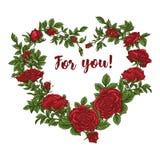 Wektor karta z ogrodowym bielem, czerwonymi różami i tulipanów kwiatami na białym tle Romantyczny projekt dla naturalnych kosmety Zdjęcia Stock
