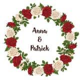 Wektor karta z ogrodowym bielem, czerwonymi różami i tulipanów kwiatami na białym tle Romantyczny projekt dla naturalnych kosmety Obrazy Stock