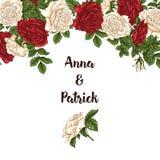 Wektor karta z ogrodowym bielem, czerwonymi różami i tulipanów kwiatami na białym tle Romantyczny projekt dla naturalnych kosmety Obraz Royalty Free