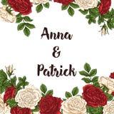 Wektor karta z ogrodowym bielem, czerwonymi różami i tulipanów kwiatami na białym tle Romantyczny projekt dla naturalnych kosmety Obraz Stock
