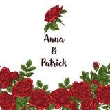 Wektor karta z ogrodowym bielem, czerwonymi różami i tulipanów kwiatami na białym tle Romantyczny projekt dla naturalnych kosmety Fotografia Royalty Free