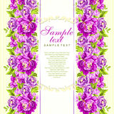 Wektor karta z różowymi peoniami Obraz Stock