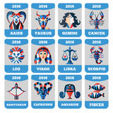 Wektor kieszeni kalendarz z płaskim zodiakiem podpisuje, horoccope, astrologia Fotografia Stock