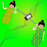 Wektor - kobiety komunikuje z blaszanymi puszkami ilustracja wektor
