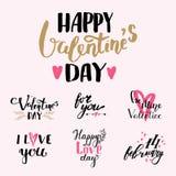 Wektor kocham Ciebie tekst narzut ręka rysujący valentine pisze list inspiracyjnego kochanka przytaczać ilustrację Obrazy Stock