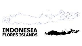 Wektor kontur Kropkująca mapa Indonezja, Flores wyspy z podpisem - ilustracji