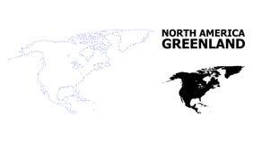 Wektor kontur Kropkująca mapa Północna Ameryka i Greenland z podpisem royalty ilustracja