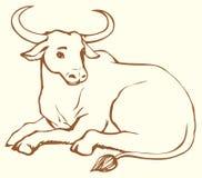 Wektor konturowa ilustracja łgarska krowa z dużymi rogami royalty ilustracja