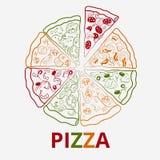 Wektor konturowa pizza Zdjęcie Stock