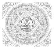 Wektor konturu Buddha tło Obrazy Stock