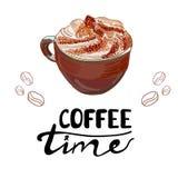 WEKTOR kreślił cappuccino filiżankę z listami: ` czasu KAWOWY ` Zdjęcia Stock