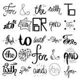 Wektor kre?li? ampersands i slogany Dekoracyjni kaligraficzni detailes Du?a kolekcja czer?, biel handsketched set ilustracji