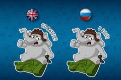Wektor, kreskówka Słoń śliczny Nick Duży set majchery w Angielskich i Rosyjskich językach Siedzieć na zbiorniku royalty ilustracja