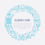 Wektor kreskowa ikona senior i starsze osoby dbamy Medyczny plakatowy szablon z ilustracją starzy ludzie, wózek inwalidzki, czas  Obraz Royalty Free