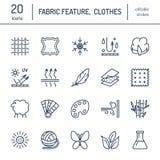 Wektor kreskowe ikony tkaniny cecha, szaty własności symbole Elementy - bawełna, wełna, wodoodporna, ultrafioletowa ochrona,