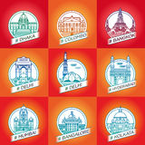wektor kreskowy Dhaka, Colombo, Bangkok, Delhi, Hyderabad, Hyderabad zdjęcie stock