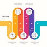 Wektor 5 kroczy wijącej kolorowej linii czasu infographic szablon Fotografia Stock