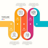 Wektor 4 kroczy wijącej kolorowej linii czasu infographic szablon Obraz Stock