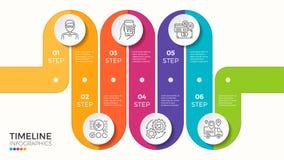 Wektor 6 kroczy wijącej kolorowej linii czasu infographic szablon Zdjęcia Royalty Free