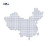 Wektor kropkował mapę Chiny odizolowywał na białym tle Zdjęcie Stock