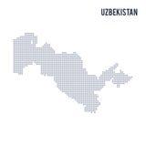 Wektor kropkował mapę Uzbekistan odizolowywał na białym tle Obrazy Stock