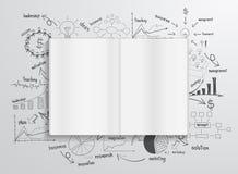 Wektor książka z rysunków wykresami i mapami Fotografia Royalty Free