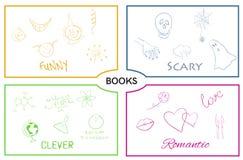 Wektor książkowe kategorie Książkowi gatunki ilustracji