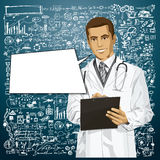 Wektor lekarki mężczyzna Z schowkiem Zdjęcia Stock